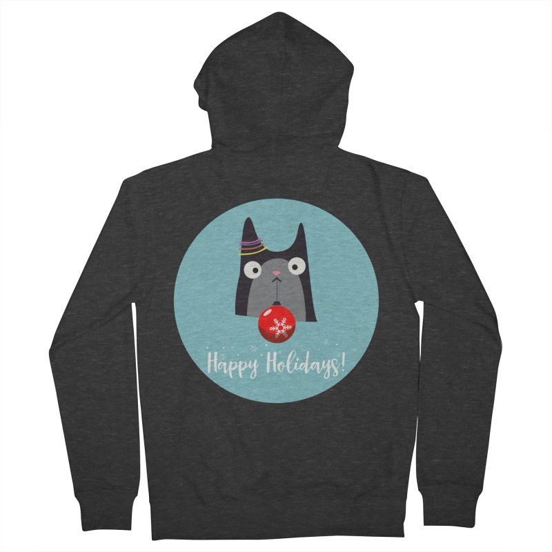 Happy Holidays, Cat Men's French Terry Zip-Up Hoody by Shop to help cats