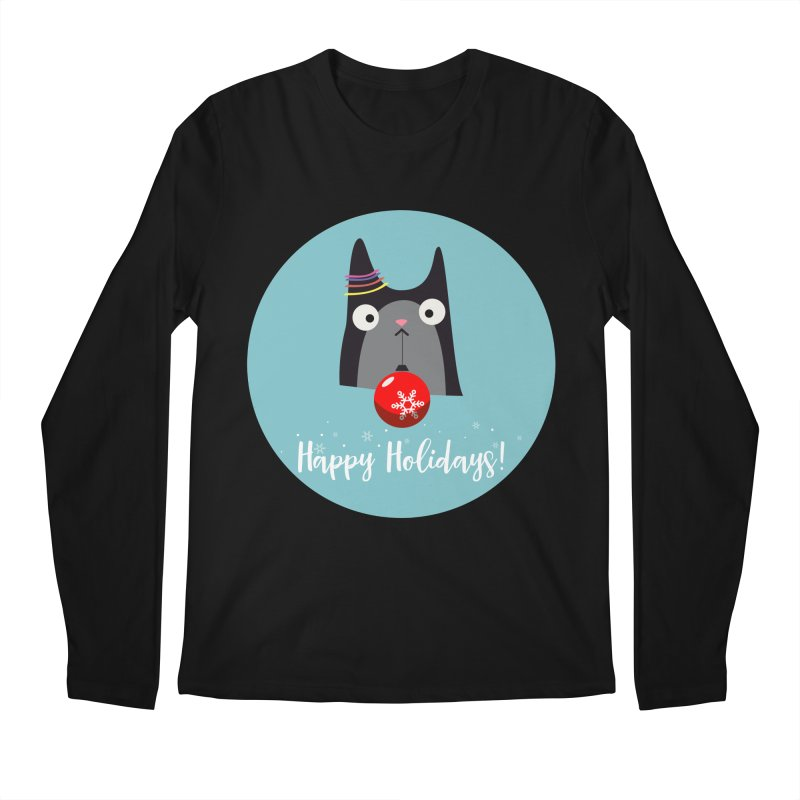 Happy Holidays, Cat Men's Regular Longsleeve T-Shirt by Shop to help cats