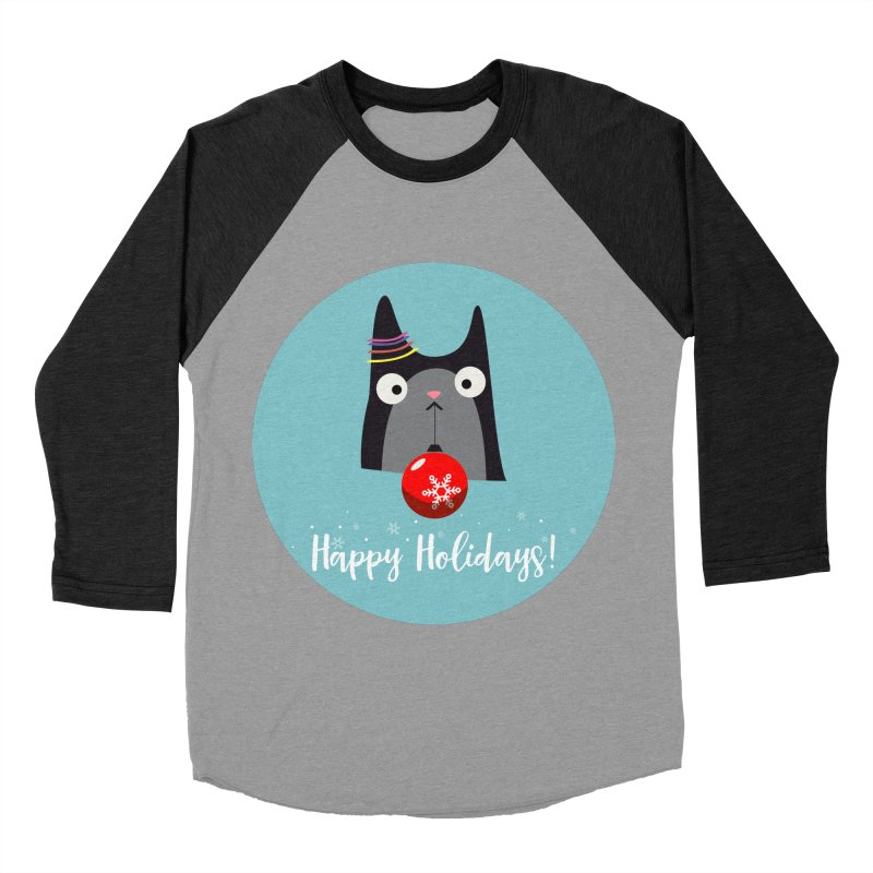 Happy Holidays, Cat Women's Baseball Triblend Longsleeve T-Shirt by Shop to help cats