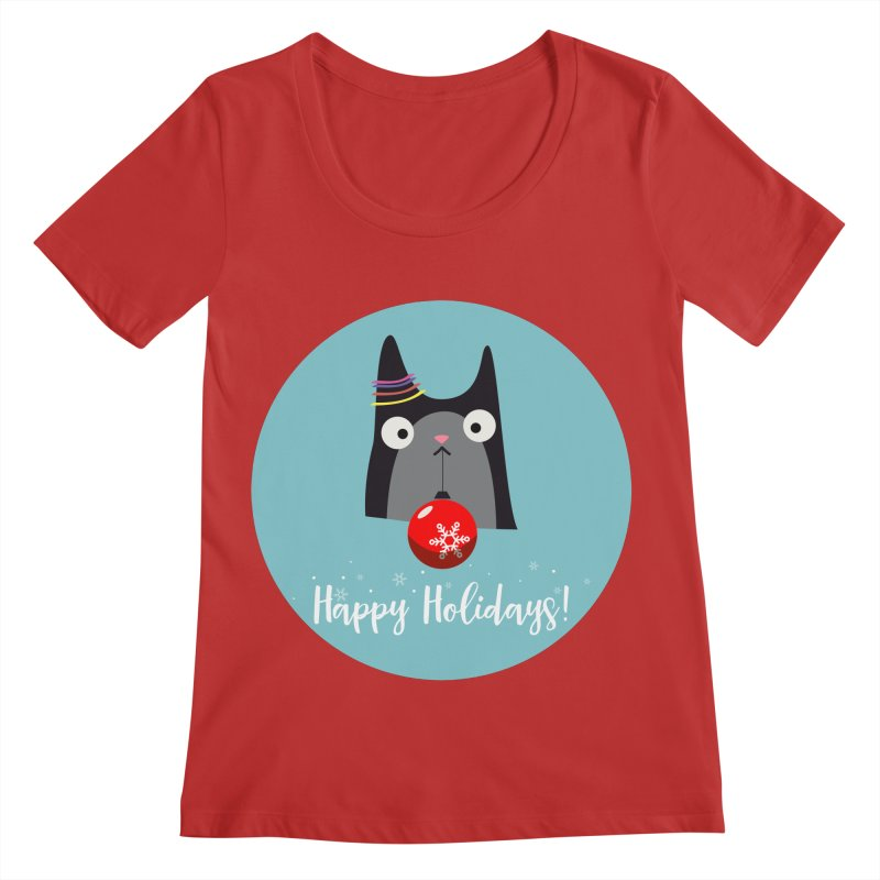 Happy Holidays, Cat Women's Regular Scoop Neck by Shop to help cats