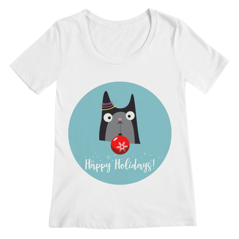 Happy Holidays, Cat Women's Scoopneck by Shop to help cats