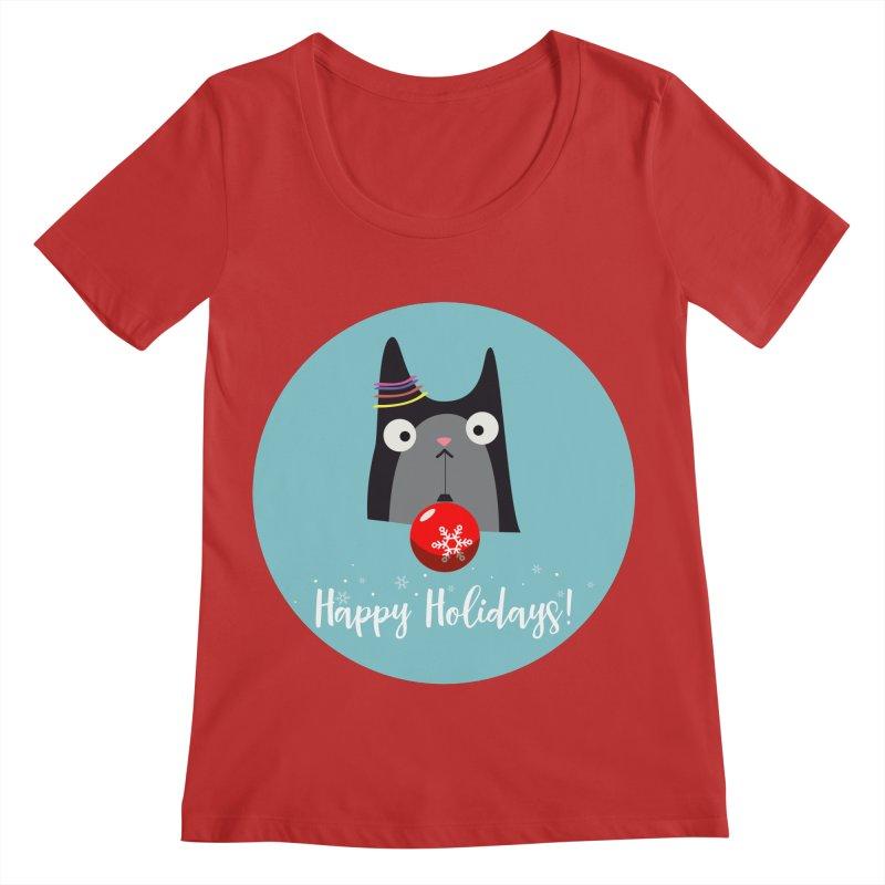Happy Holidays, Cat Women's Regular Scoop Neck by Shop to help cats