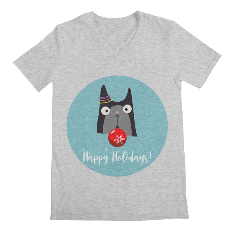 Happy Holidays, Cat Men's Regular V-Neck by Shop to help cats