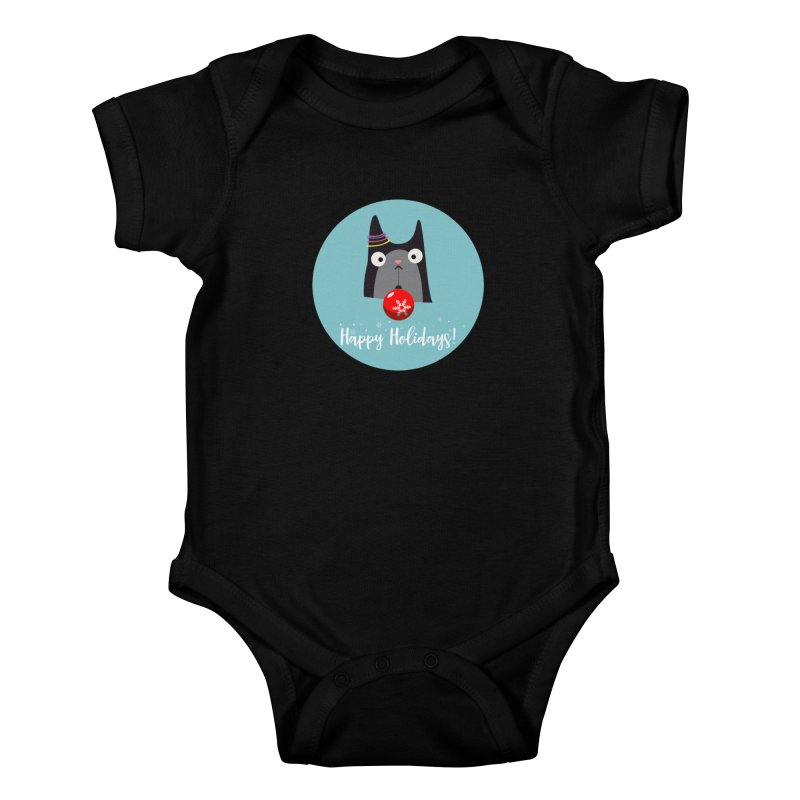 Happy Holidays, Cat Kids Baby Bodysuit by Shop to help cats