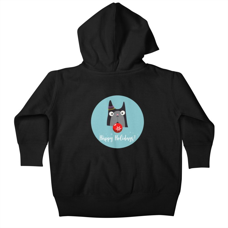 Happy Holidays, Cat Kids Baby Zip-Up Hoody by Shop to help cats