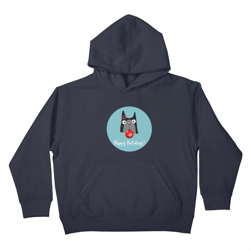 Happy Holidays, Cat Kids Pullover Hoody by Shop to help cats