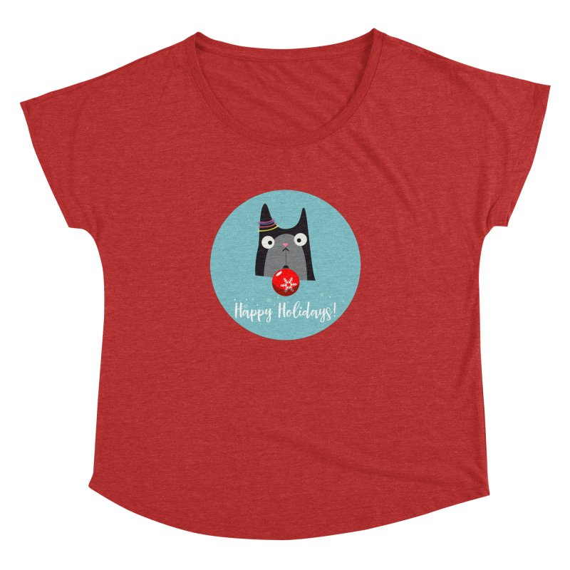 Happy Holidays, Cat Women's Dolman Scoop Neck by Shop to help cats