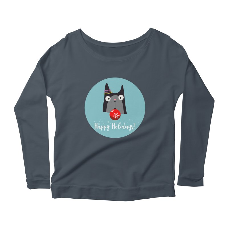Happy Holidays, Cat Women's Longsleeve Scoopneck  by Shop to help cats