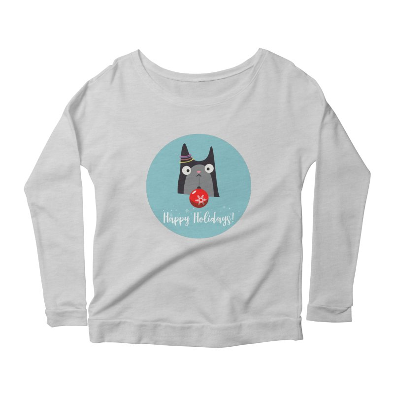 Happy Holidays, Cat Women's Scoop Neck Longsleeve T-Shirt by Shop to help cats