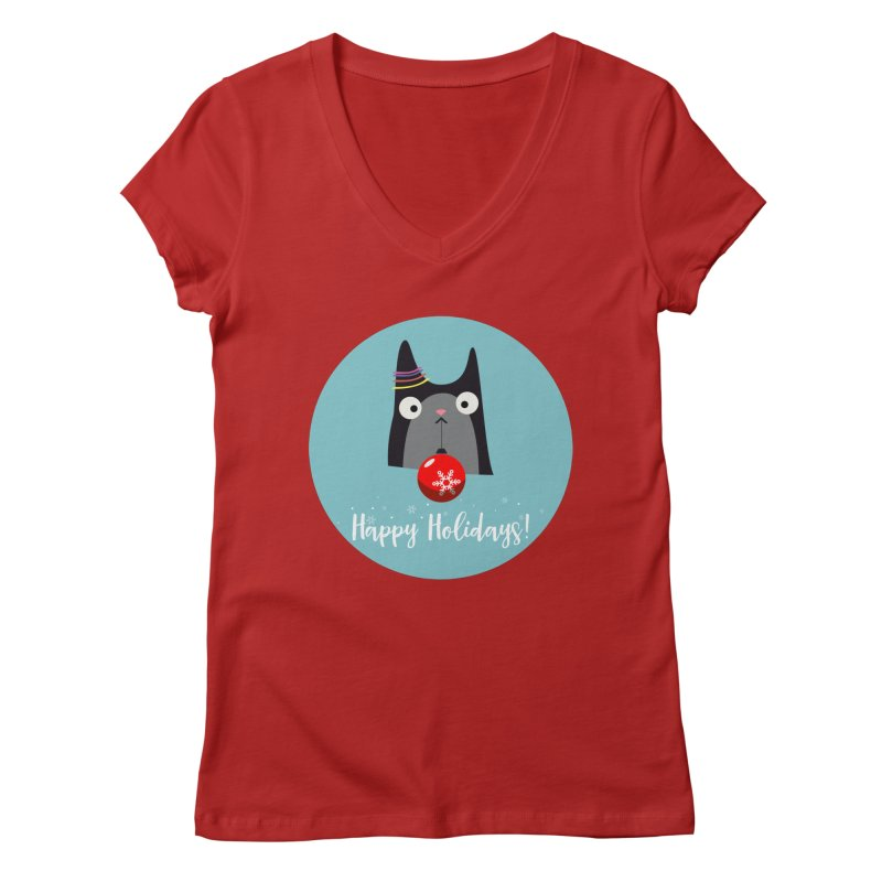 Happy Holidays, Cat Women's V-Neck by Shop to help cats
