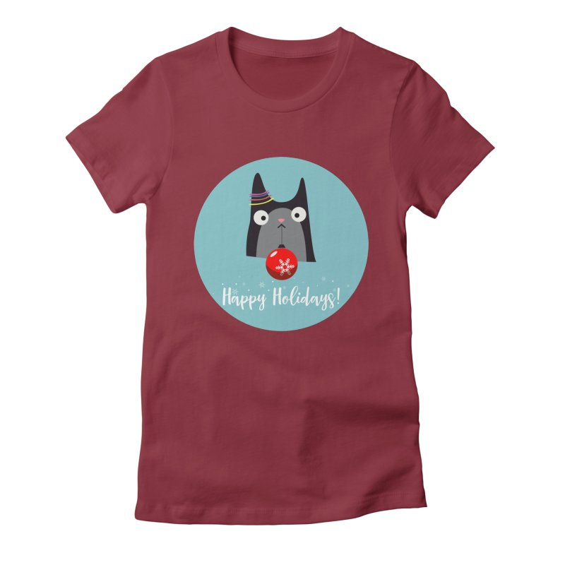 Happy Holidays, Cat Women's Fitted T-Shirt by Shop to help cats