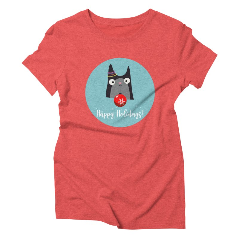 Happy Holidays, Cat Women's Triblend T-Shirt by Shop to help cats