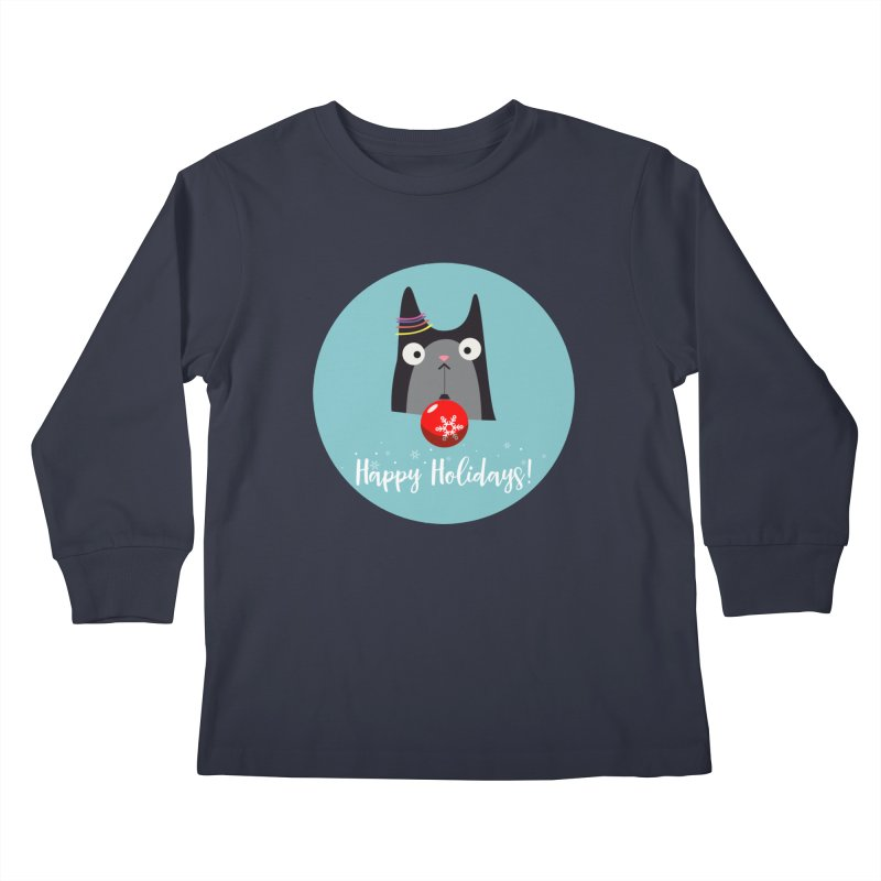 Happy Holidays, Cat Kids Longsleeve T-Shirt by Shop to help cats