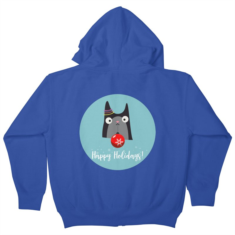 Happy Holidays, Cat Kids Zip-Up Hoody by Shop to help cats