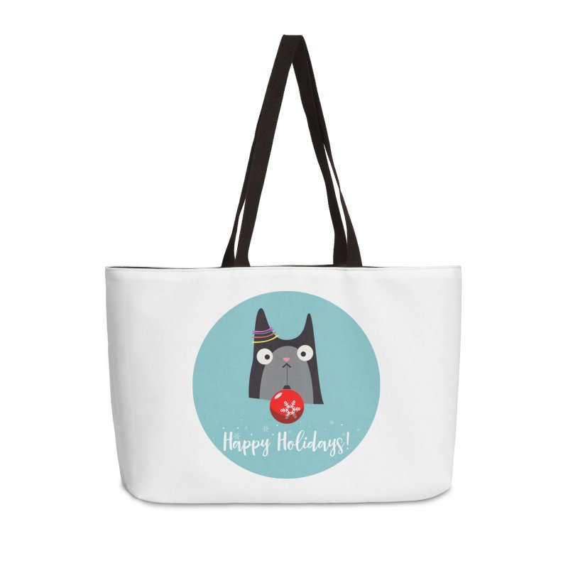Happy Holidays, Cat Accessories Weekender Bag Bag by Shop to help cats