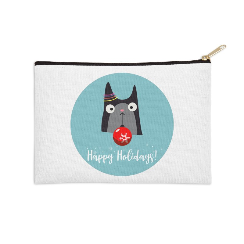 Happy Holidays, Cat Accessories Zip Pouch by Shop to help cats