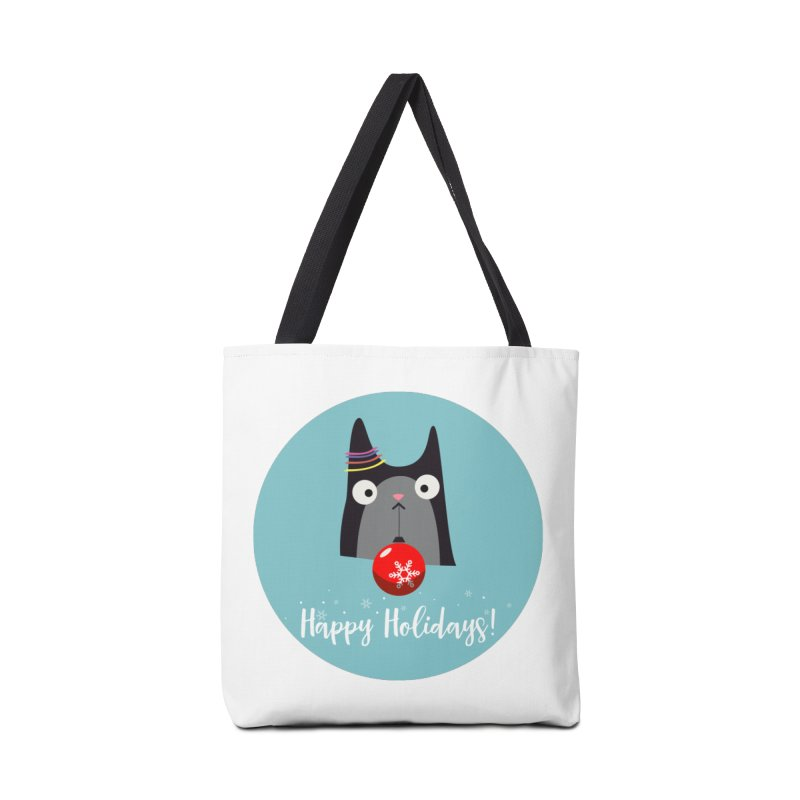 Happy Holidays, Cat Accessories Tote Bag Bag by Shop to help cats