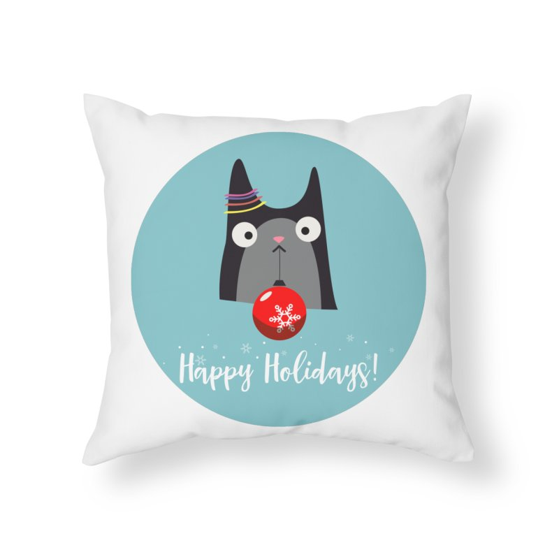 Happy Holidays, Cat Home Throw Pillow by Shop to help cats