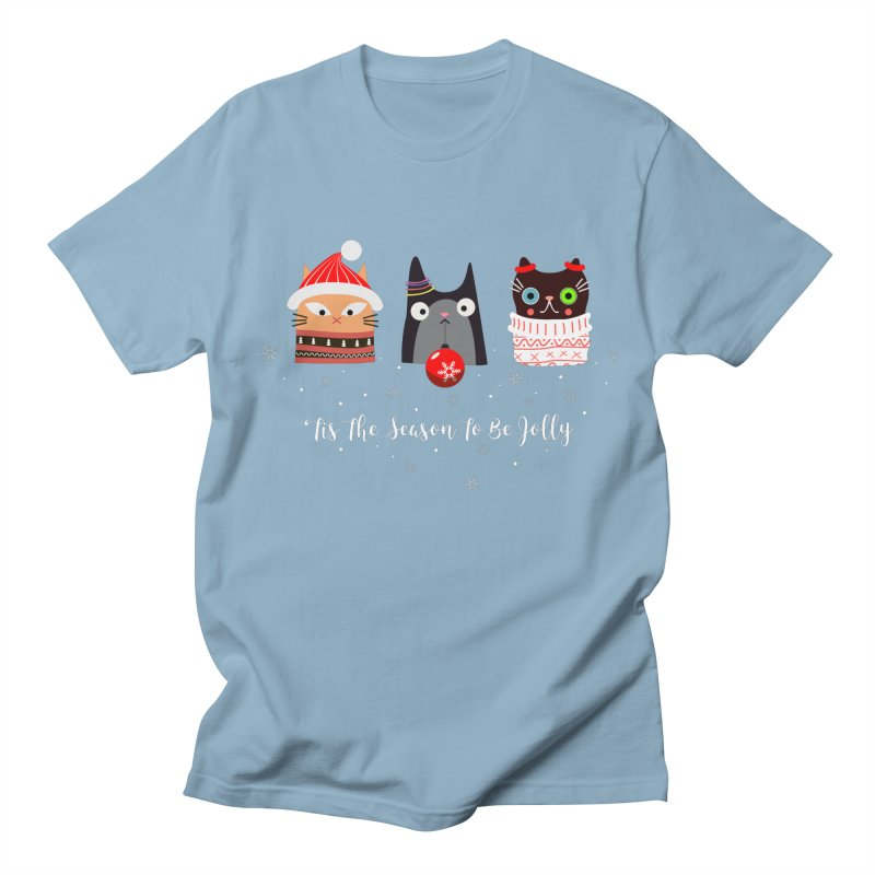 'Tis the season to be jolly... in Men's T-Shirt Light Blue by Shop to help cats
