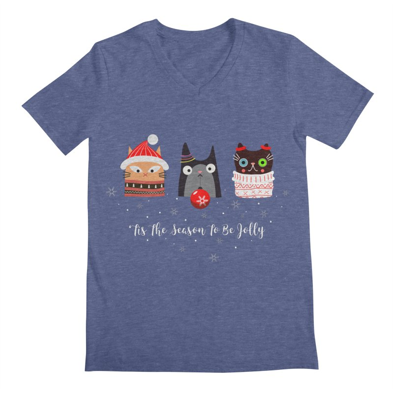 'Tis the season to be jolly... Men's Regular V-Neck by Shop to help cats
