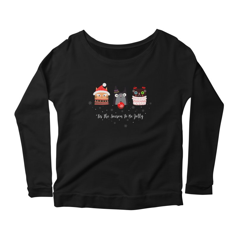 'Tis the season to be jolly... Women's Scoop Neck Longsleeve T-Shirt by Shop to help cats