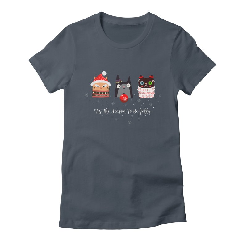 'Tis the season to be jolly... in Women's Fitted T-Shirt Denim by Shop to help cats