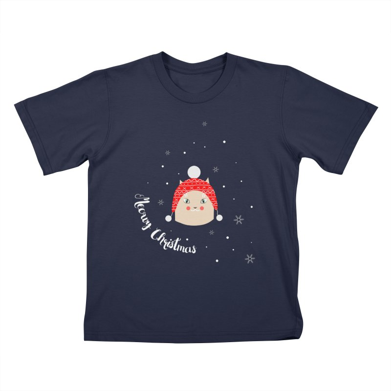 Meowy Christmas! in Kids T-Shirt Navy by Shop to help cats