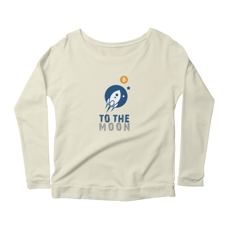 Bitcoin To The Moon Women's Longsleeve Scoopneck  by Shop to help cats