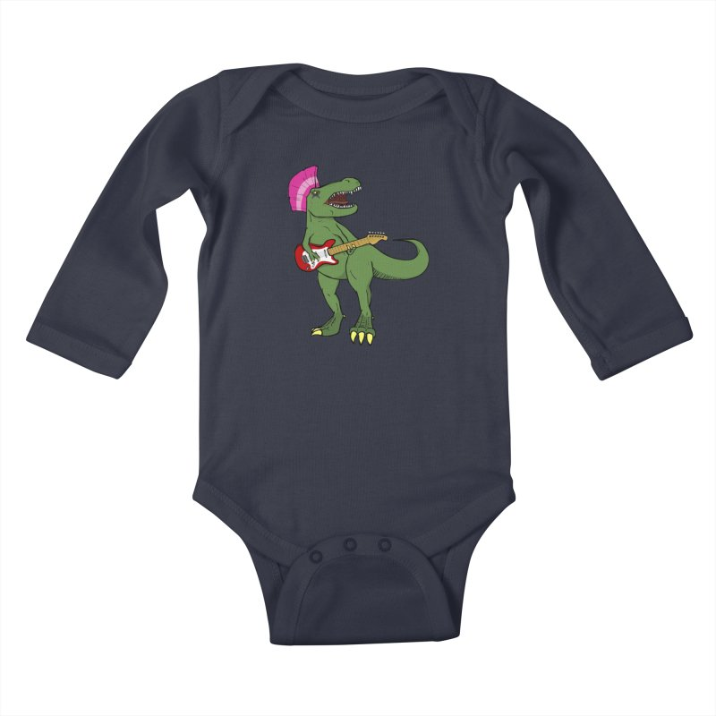 Tyrant Lizard Kids Baby Longsleeve Bodysuit by Bigger Than Cheeses