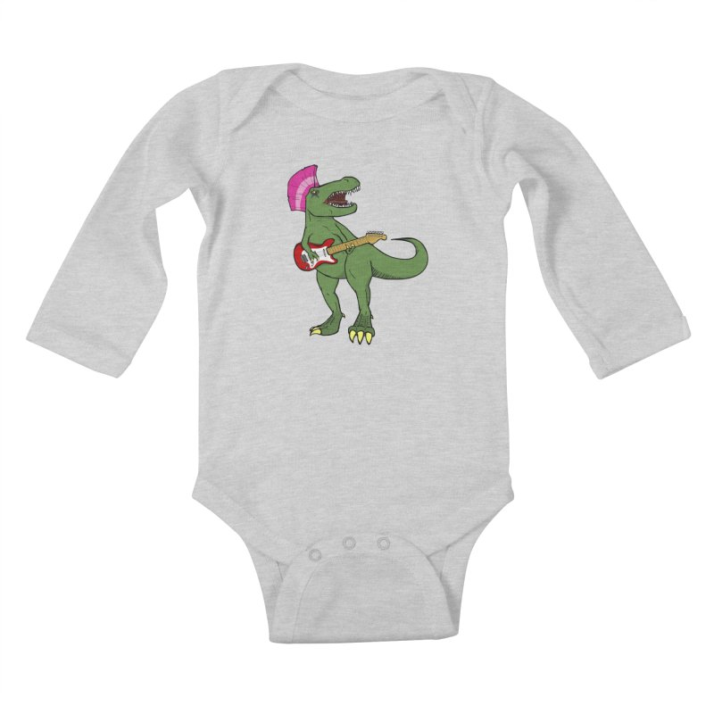 Tyrant Lizard Kids Baby Longsleeve Bodysuit by Bigger Than Cheeses
