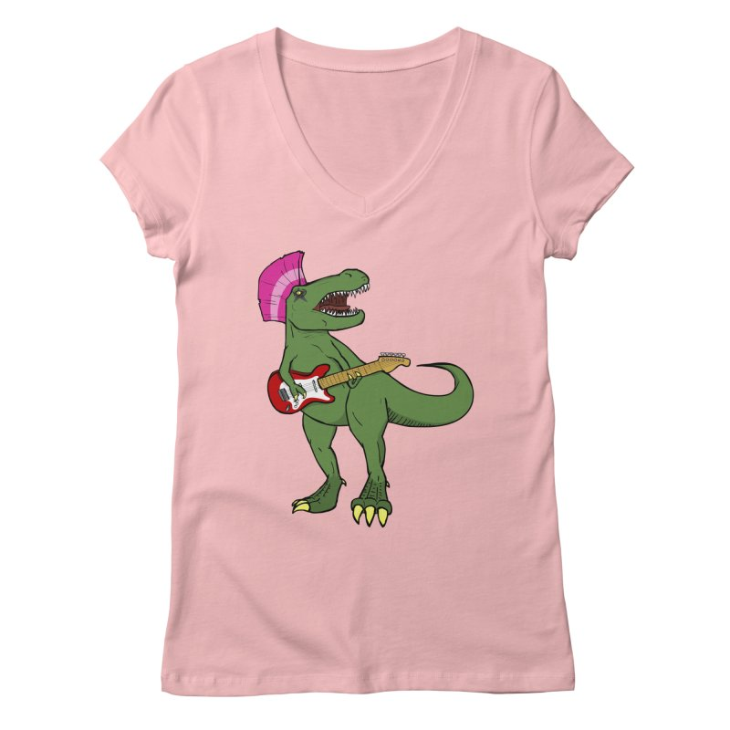 Tyrant Lizard Women's V-Neck by Bigger Than Cheeses