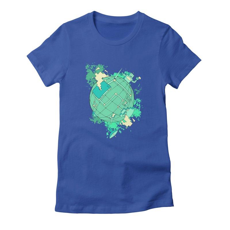 Modern World Women's Fitted T-Shirt by btsai's Artist Shop