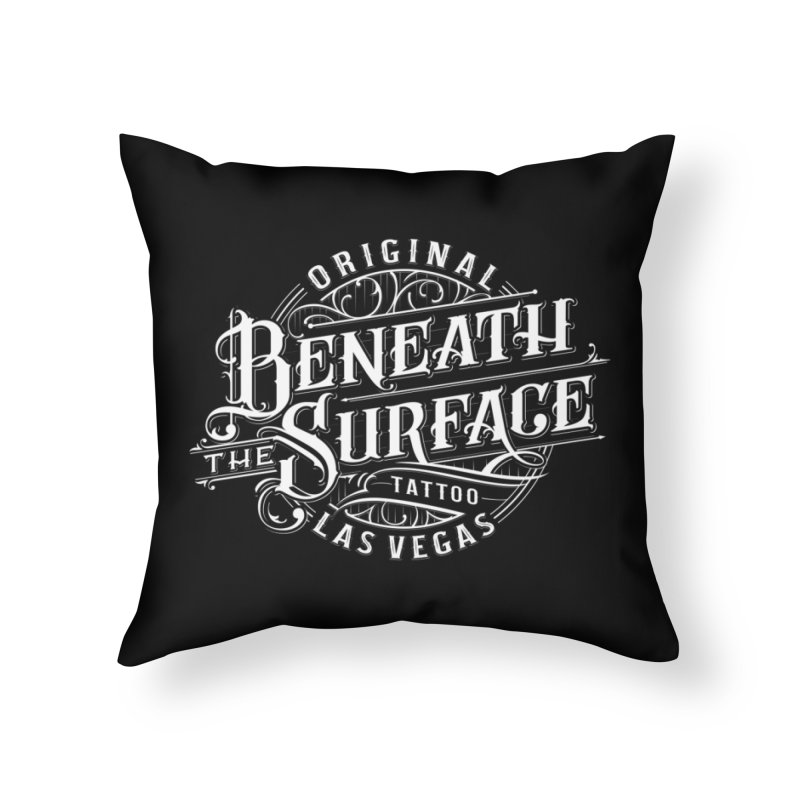 OG Beneath The Surface White Print Home Throw Pillow by Beneath The Surface Tattoos