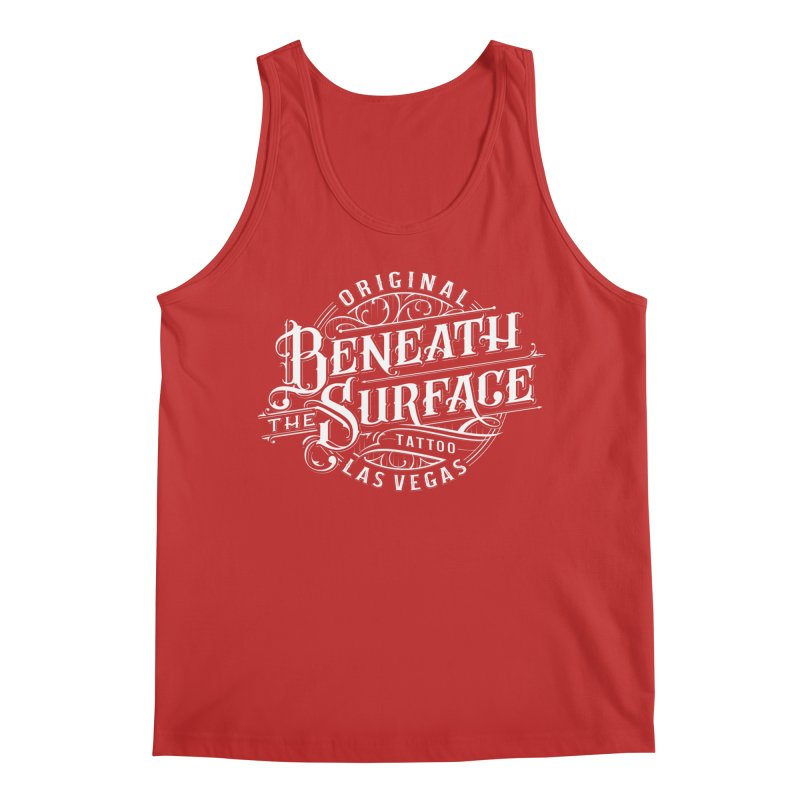 OG Beneath The Surface White Print Men's Tank by Beneath The Surface Tattoos