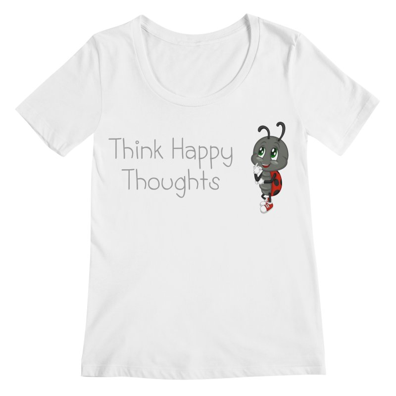 Ladybird Think Happy Thoughts Women's Scoopneck by BubaMara's Artist Shop