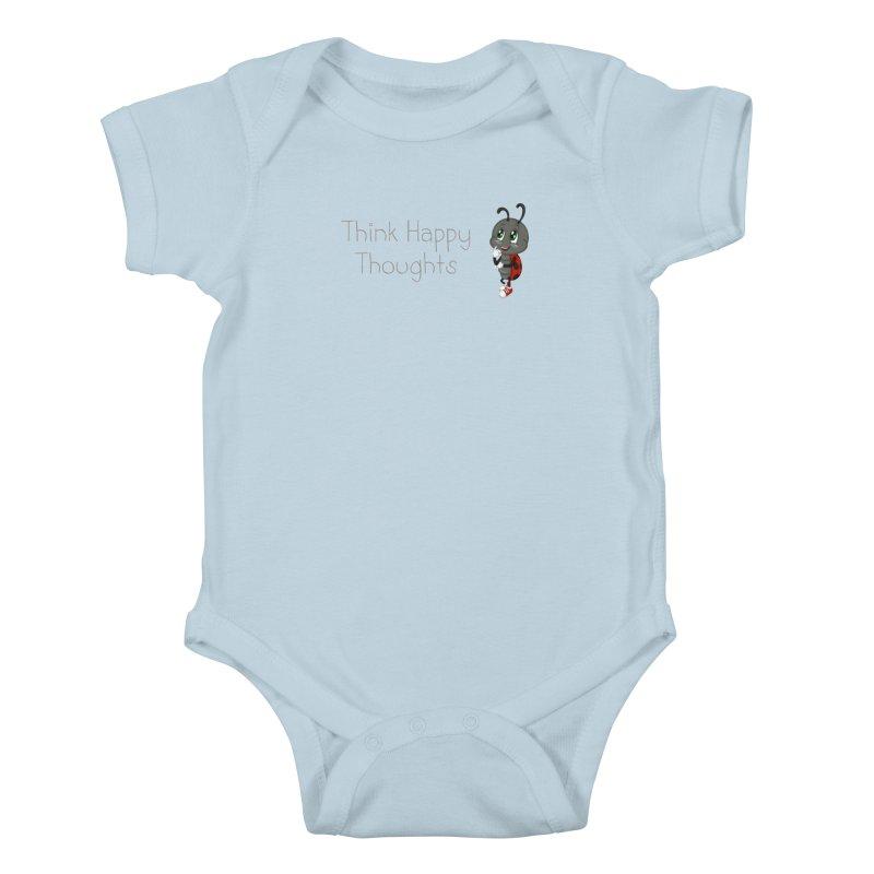 Ladybird Think Happy Thoughts Kids Baby Bodysuit by BubaMara's Artist Shop