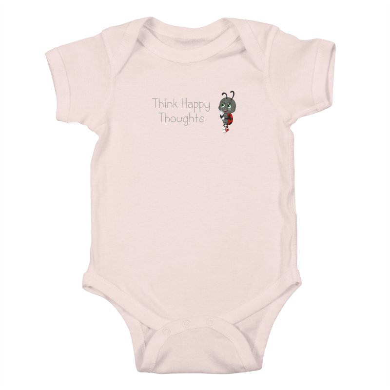 Ladybird Think Happy Thoughts Kids Baby Bodysuit by BubaMara's Artist Shop