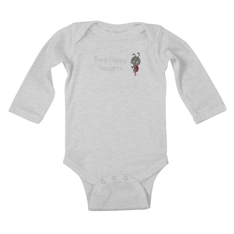 Ladybird Think Happy Thoughts Kids Baby Longsleeve Bodysuit by BubaMara's Artist Shop