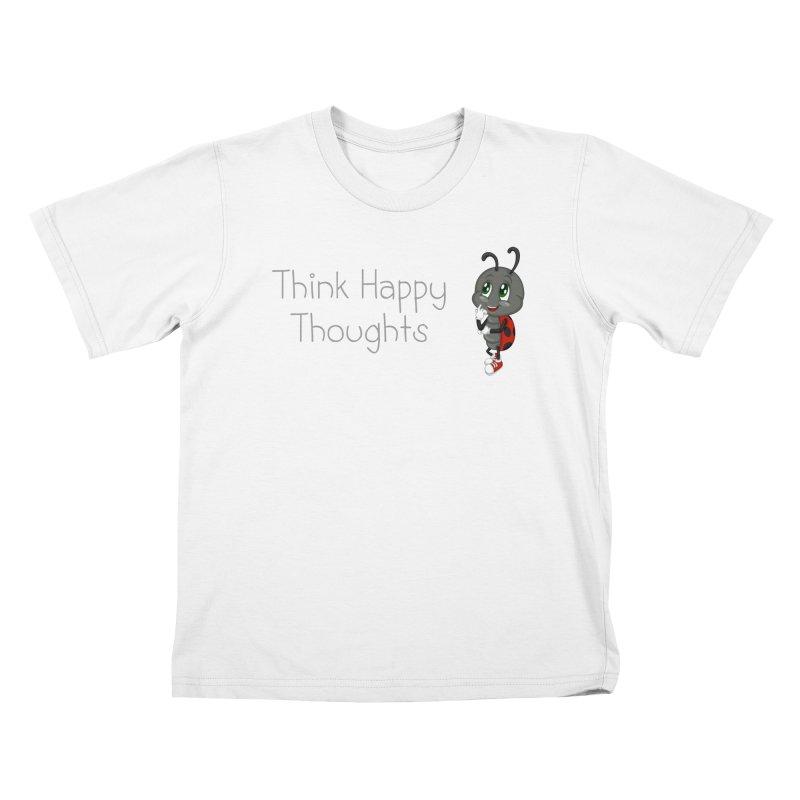 Ladybird Think Happy Thoughts Kids T-shirt by BubaMara's Artist Shop