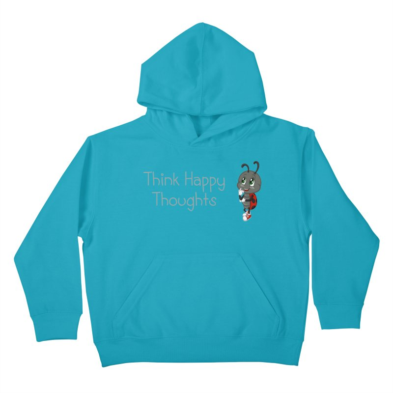 Ladybird Think Happy Thoughts Kids Pullover Hoody by BubaMara's Artist Shop