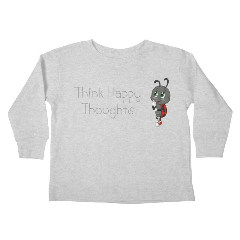 Ladybird Think Happy Thoughts Kids Toddler Longsleeve T-Shirt by BubaMara's Artist Shop