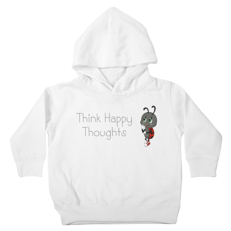 Ladybird Think Happy Thoughts Kids Toddler Pullover Hoody by BubaMara's Artist Shop