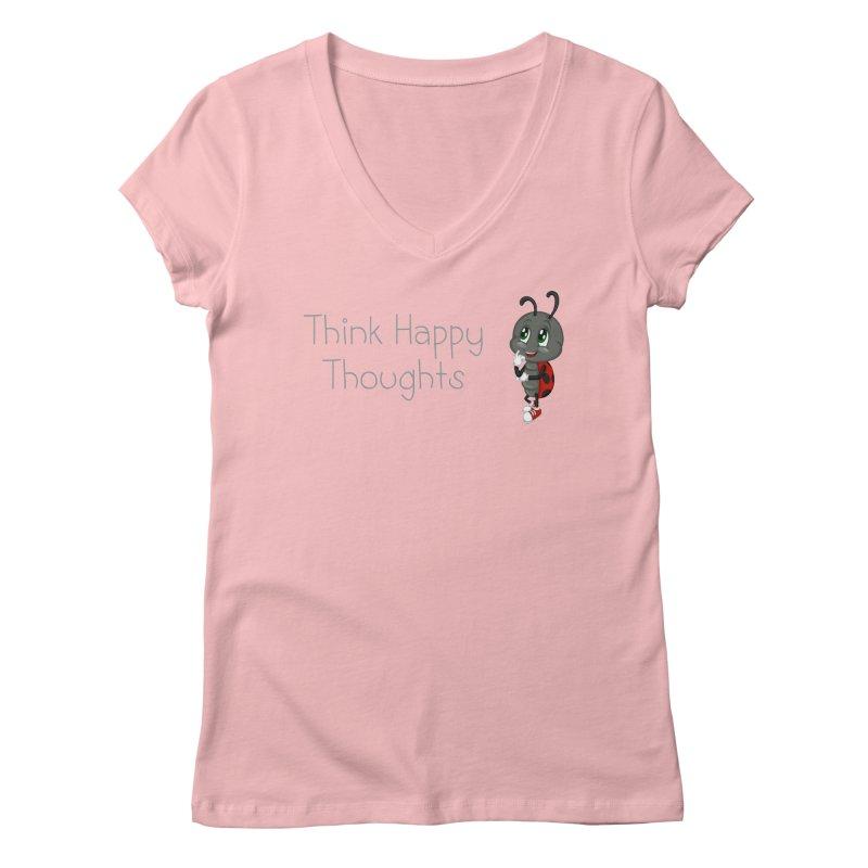 Ladybird Think Happy Thoughts Women's Regular V-Neck by BubaMara's Artist Shop
