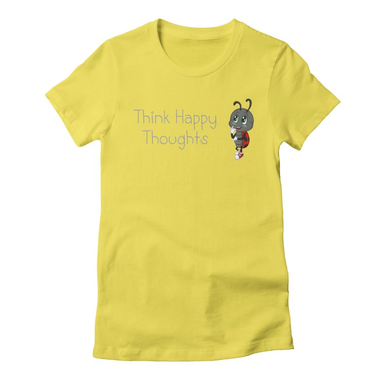 Ladybird Think Happy Thoughts Women's Fitted T-Shirt by BubaMara's Artist Shop