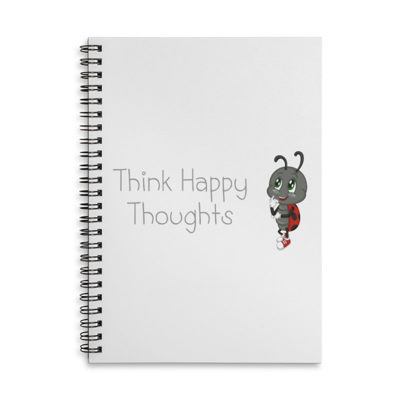 Ladybird Think Happy Thoughts Accessories Lined Spiral Notebook by BubaMara's Artist Shop