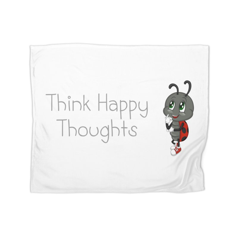 Ladybird Think Happy Thoughts Home Fleece Blanket by BubaMara's Artist Shop