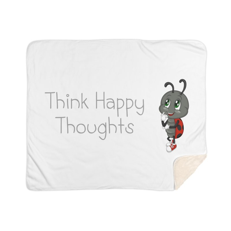 Ladybird Think Happy Thoughts Home Sherpa Blanket Blanket by BubaMara's Artist Shop