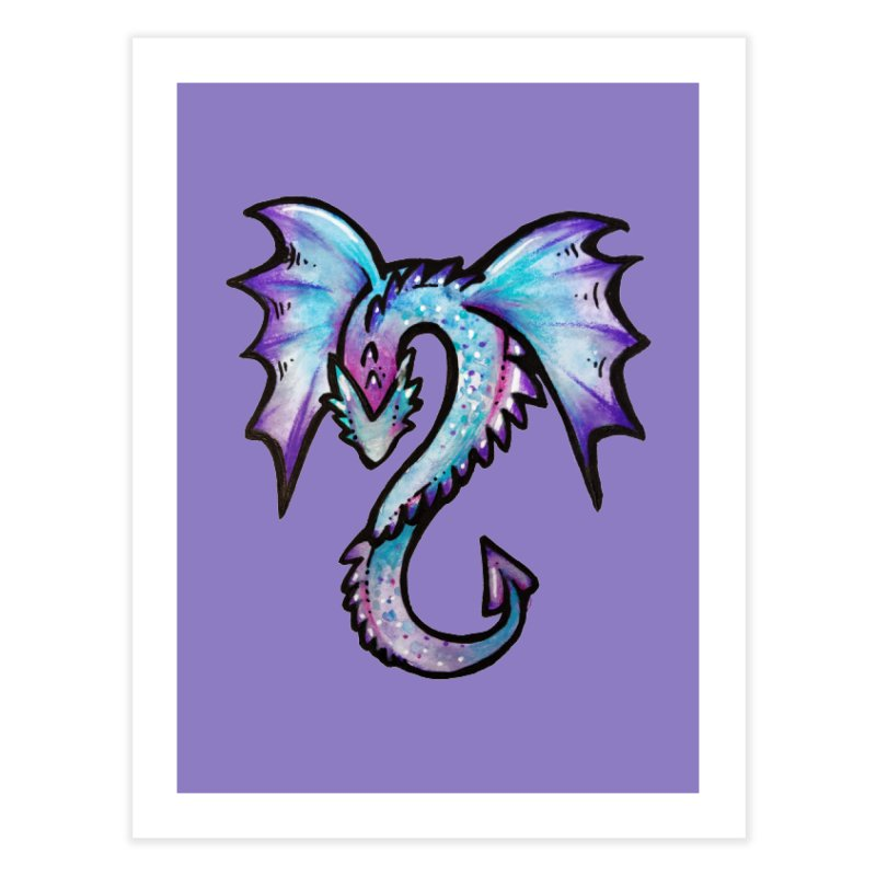 Purple Dragon Home Fine Art Print by BubbSnugg