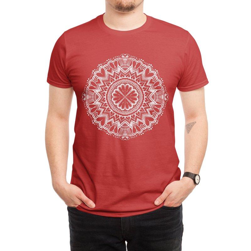 Heart Love Mandala Valentine Men's T-Shirt by BubbSnugg