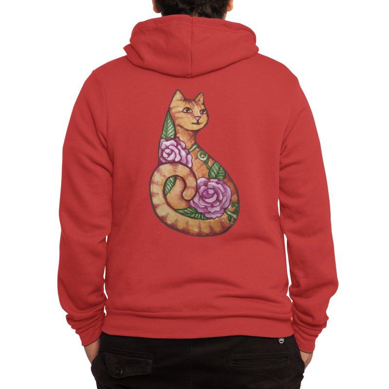 Orange Tabby Cat Men's Zip-Up Hoody by BubbSnugg
